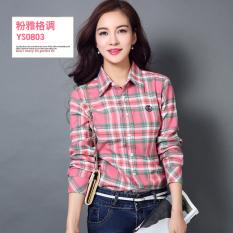 Toko Versi Korea Perempuan Musim Semi Dan Gugur Lengan Panjang Kemeja Slim Kemeja Katun Kemeja Kotak Kotak Ys 0803 Oem Di Tiongkok