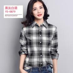 Promo Versi Korea Perempuan Musim Semi Dan Gugur Lengan Panjang Kemeja Slim Kemeja Katun Kemeja Kotak Kotak Ys 0879 Baju Wanita Baju Atasan Kemeja Wanita