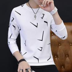 Jual Korea Fashion Style Pria Lengan Panjang T Shirt T605 Putih Branded Murah