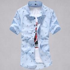 Kemeja Pria Lengan Pendek Membentuk Tubuh Versi Korea (Lengan pendek--langit biru bulu besar) (Lengan pendek--langit biru bulu besar)