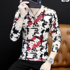 Review Versi Korea Pria V Neck Bottoming Kemeja Pencetakan Personalisasi Lengan Panjang T Shirt Bunga Tinta Merah Baju Atasan Kaos Pria Kemeja Pria Di Tiongkok