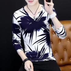 Toko Versi Korea Pria V Neck Bottoming Kemeja Pencetakan Personalisasi Lengan Panjang T Shirt Daun Bambu Biru Dekat Sini