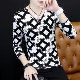 Spesifikasi Versi Korea Pria V Neck Bottoming Kemeja Pencetakan Personalisasi Lengan Panjang T Shirt Kotak Hitam Merk Oem