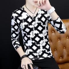 Jual Versi Korea Pria V Neck Bottoming Kemeja Pencetakan Personalisasi Lengan Panjang T Shirt Kotak Hitam Grosir