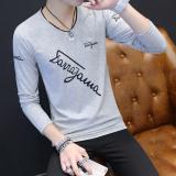 Kaos Oblong Pria Sempurna Model Tipis Lengan Panjang Kerah V Berhuruf Versi Korea Miring Huruf Abu Abu Di Tiongkok