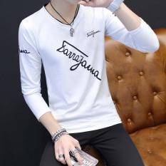 Harga Kaos Oblong Pria Sempurna Model Tipis Lengan Panjang Kerah V Berhuruf Versi Korea Miring Huruf Putih Baju Atasan Kaos Pria Kemeja Pria Asli