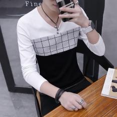 Spesifikasi Korea Fashion Style Laki Laki V Neck Slim Pria Sweater Musim Gugur Lengan Panjang T Shirt 668 Putih Yang Bagus