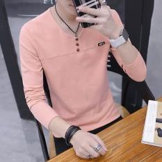 Toko Korea Fashion Style Laki Laki V Neck Slim Pria Sweater Musim Gugur Lengan Panjang T Shirt Merah Muda Oem