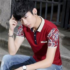 Penawaran Istimewa T Shirt Musim Panas Pria Atasan Korea Fashion Style Slim Merah Baju Atasan Kaos Pria Kemeja Pria Terbaru