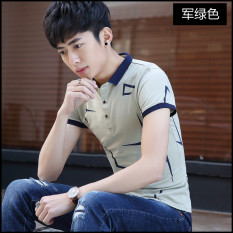 Spesifikasi Versi Korea Slim Pemuda Polo Kemeja Kerah Pria Lengan Pendek T Shirt Tentara Hijau Baju Atasan Kaos Pria Kemeja Pria Kaos Polo Dan Harga