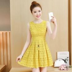 Promo Graceful Korean Style Sleeveless Vest Lace Dress Kuning Baju Wanita Dress Wanita Gaun Wanita Akhir Tahun