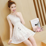 Spesifikasi Graceful Korean Style Sleeveless Vest Lace Dress Putih Baju Wanita Dress Wanita Gaun Wanita Lengkap