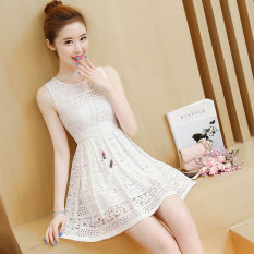 Graceful Korean Style Sleeveless Vest Lace Dress Putih Baju Wanita Dress Wanita Gaun Wanita Oem Diskon 40