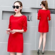 Harga Gaun Korea Fashion Style Baru Rok Dalaman Terlihat Langsing Bagian Panjang Merah Dan Spesifikasinya