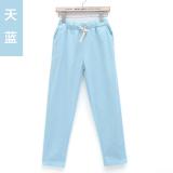 Jual Cepat Longgar Korea Fashion Style Terlihat Langsing Ukuran Besar Celana Cargo Kain Linen Sembilan Celana Langit Biru