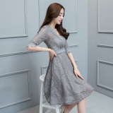 Jual Korean Style New Style Long Sleeved Lace A Line Dress Dress Abu Abu Gelap Murah Di Tiongkok