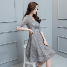 Korean Style New Style Long Sleeved Lace A Line Dress Dress Abu Abu Gelap Murah