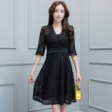 Diskon Korean Style New Style Long Sleeved Lace A Line Dress Dress Hitam Baju Wanita Dress Wanita Gaun Wanita Tiongkok