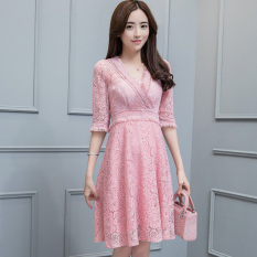 Review Terbaik Korean Style New Style Long Sleeved Lace A Line Dress Dress Merah Muda Baju Wanita Dress Wanita Gaun Wanita