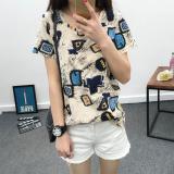Review Xianyuansu Kaos Wanita Trendi Lengan Pendek Motif Cetak 294 Foto Warna Tiongkok