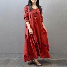 Vestidos 2016 Musim Gugur Fashion Wanita Gaun Ukuran Better Elegan dengan Gaun Longgar Leher V Baju Lengan Kasual Padat Sprei Katun BoHo Gaun Panjang Maxi Merah Bata