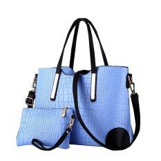 Vicria 2In1 Tas Branded Wanita Limited Edition High Quality Pu Leather Korean Bag Style Biru Promo Beli 1 Gratis 1