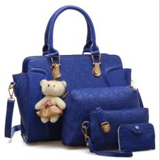 Vicria 4in1 Tas Branded Wanita - High Quality PU Leather Korean Elegant Bag Style With Bear - Biru