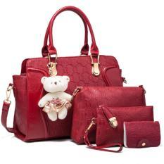 Harga Termurah Vicria 4In1 Tas Branded Wanita High Quality Pu Leather Korean Elegant Bag Style With Bear Merah