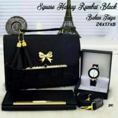 Vicria Tas Branded Wanita 3 in 1 - High Quality PU Leather Korean Elegant Bag Style + Wallet  & Jam Tangan Branded