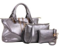Vicria Tas Branded Wanita - High Quality Korean Bag Style 3in1 - Silver