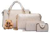 Spesifikasi Vicria Tas Branded Wanita High Quality Korean Elegant Bag Style With Wallet 4In1 Beige Online