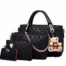 Vicria Tas Branded Wanita - High Quality Korean Elegant Bag Style WITH  WALLET 4in1 - Hitam 29367abb28