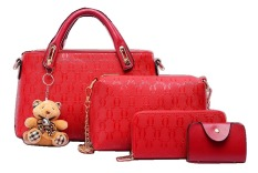 Toko Vicria Tas Branded Wanita High Quality Korean Elegant Bag Style With Wallet 4In1 Merah Vicria Online