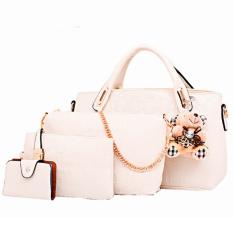 Vicria Tas Branded Wanita - High Quality Korean Elegant Bag Style WITH WALLET 4in1 - Putih