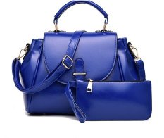 Promo Vicria Tas Branded Wanita High Quality Pu Leather Korean Elegant Bag Style Biru Murah