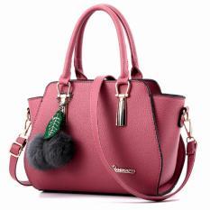 Vicria Tas Branded Wanita - High Quality PU Leather Korean Elegant Bag Style + Pompom - Pink