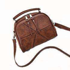 Vicria Tas Branded Wanita Korean High Quality Bag Mini Triangle Style Brown Murah