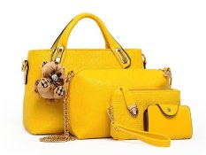 Vicria Tas Branded Wanita - Korean Style High Quality 4in1 - Kuning