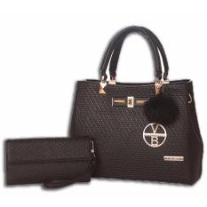 Vicria Tas Branded Wanita With 2IN1 - High Quality PU Leather New brand Style - BLACK