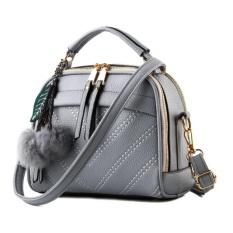 Jual Vicria Tas Branded Wanita With Pompom High Quality Pu Leather Korean Elegant Bag Style Abu Abu Vicria Online