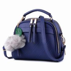 Vicria Tas Branded Wanita With Pompom - High Quality PU Leather Korean Elegant Bag Style BB2073 - Biru Tua
