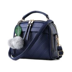 Vicria Tas Branded Wanita With Pompom High Quality Pu Leather Korean Elegant Bag Style Biru Tua Jawa Barat