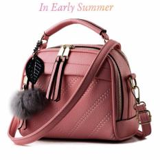 Vicria Tas Branded  Wanita With Pompom - High Quality PU Leather Korean Elegant Bag Style - DARKPINK