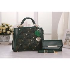 Beli Vicria Tas Import Wanita 2In1 High Quality Pu Leather Korean Elegant Bag Style Tas Branded 510 2In1 Green Online