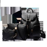 Jual Vicria Tas Ransel Branded Wanita High Quality Pu Leather Korean Elegant Bag Style 3In1 Hitam Satu Set