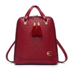 Harga Vicria Tas Ransel Branded Wanita Korean High Quality Bag Style With Gantungan Red Original
