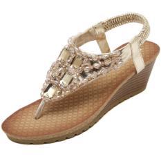 Diskon Kemenangan Bohemia Wedge Sepatu Wanita Eropa Dan Amerika Diamond Sandal Jepit Sandal Emas Intl Branded