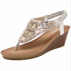 Kemenangan Bohemia Wedge Sepatu Wanita Eropa dan Amerika Diamond Sandal Jepit Sandal (Perak)-Intl