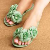 Model Kemenangan Camellia Flat Sandal Musim Panas Jelly Sepatu Wanita Hijau Intl Terbaru