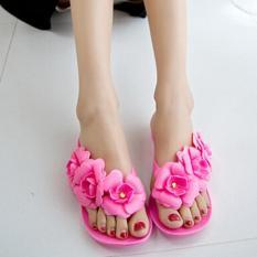 Diskon Kemenangan Camellia Flat Sandal Musim Panas Jelly Sepatu Wanita Merah Intl